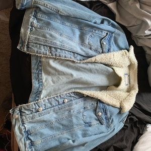 wool collar denim jacket
